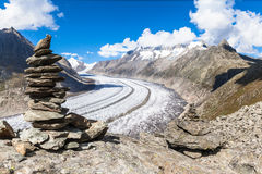 View of the Aletsch glacier on Mountains Stock Photography