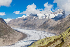 View of the Aletsch glacier on Mountains Stock Photos