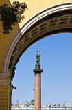 View of the Alexander Column on Palace Square Stock Image