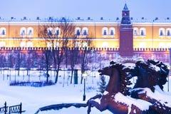 View of Alexander Garden in blue snowing evening, Moscow. Snow in Moscow - view of Alexander Garden in blue winter snowing evening Royalty Free Stock Photos