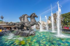 View on Alexander garden main fountain with four horses royalty free stock photo