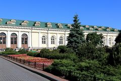 View from the Alexander Garden to the Moscow Manege Central Exhibition Hall Manege royalty free stock image