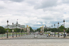 View of the Alexander III bridge in Paris. Royalty Free Stock Photos