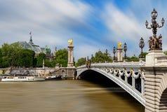 View of Alexander the III bridge in Paris, France. Royalty Free Stock Image
