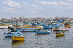 View of Alexandria harbor, Egypt stock photography