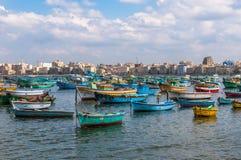 View of Alexandria harbor, Egypt Royalty Free Stock Photo