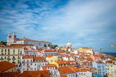 A view of Alfama in Lisbon. A view from a miradouro in Alfama, Lisbon, Portugal Royalty Free Stock Images
