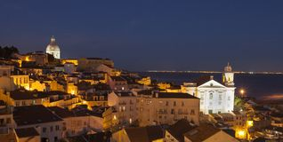 View of Alfama in Lisbon at night Royalty Free Stock Image