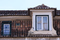 View of Alfama roof and windows in Lisbon stock images