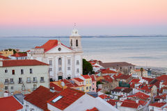 View of Alfama at sunset, Lisbon, Portugal Royalty Free Stock Photo