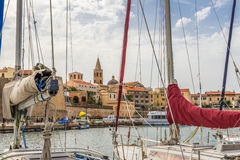 View of the Alghero from the harbor jetty Stock Photography