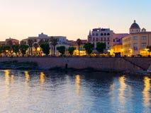 View of alghero at night. A beautiful city vibrant. Sardinia. royalty free stock photos