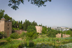 View on the Alhambra. From the summer palace Generalife Royalty Free Stock Images