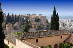 View of the Alhambra. The Alhambra Palace, Granada, Spain Royalty Free Stock Photography