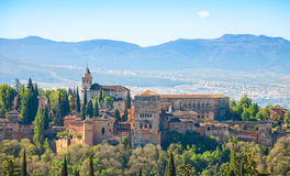 View of the Alhambra from the Albayzin,  Granada, Andalusia, Spain Royalty Free Stock Images