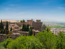 View of the Alhambra castle in Granada, Spain Royalty Free Stock Photos