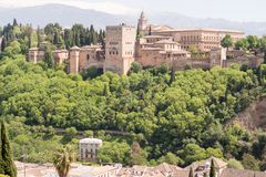 Alhambra Fortress in Granada. A view of the Alhambra Fortress in Granada, Spain Royalty Free Stock Image