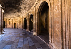 View of Alhambra interiors in Granada, Spain Royalty Free Stock Images