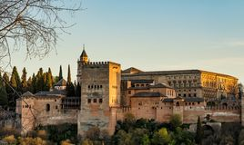 View of Alhambra Palace in Granada, Spain in Europe royalty free stock photo