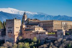 View of Alhambra Palace in Granada, Spain in Europe royalty free stock image