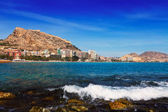 View of Alicante with Castle of Santa Barbara from Mediterranean Royalty Free Stock Photos