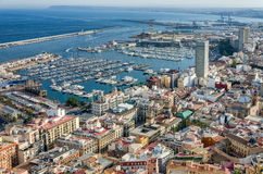 View on Alicante harbor and old city center, Spain Royalty Free Stock Images