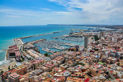 View of Alicante harbour from Santa Barbara castle royalty free stock image