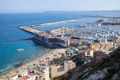 View on Alicante old city and port from castle Santa Barbara, summer Spain Stock Photography