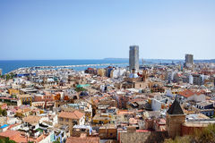 View on Alicante old city and port from castle Santa Barbara, summer Spain Stock Photo