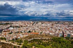 View of Alicante from Santa Barbara castle on a stormy day Stock Photo
