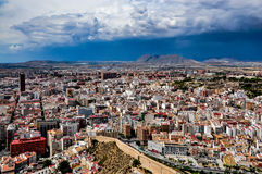 View of Alicante from Santa Barbara castle on a stormy day Royalty Free Stock Photography