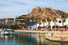 View of Alicante with yachts at sea and restaurants Royalty Free Stock Photos