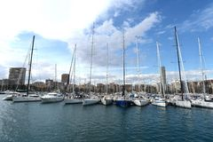 View of Alicante with yachts at sea. Stock Image