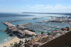 View of Alicante with yachts at sea. Stock Photography
