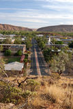 View of Alice Springs. Cityscape of Alice Springs with surrounding mountains Stock Photo