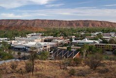 View of Alice Springs City. Cityscape of Alice Springs with surrounding mountains Stock Image
