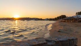 Aliki beach at sunset - Cyclades island - Aegean sea - Aliki Par. View of Aliki beach at sunset - Cyclades island - Aegean sea - Alyki Paros - Greece stock photo