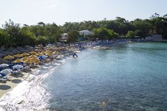 View of the Aliki beach in Thasos. From the side Royalty Free Stock Image