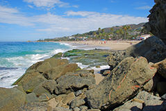 View of Aliso Beach, Laguna Beach, California. Image shows Aliso Beach in South Laguna Beach, California. View, taken from the rocky south end of the beach Stock Photography
