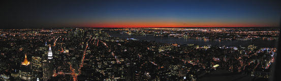 View on all the city by night. From the Empire State Building - New York - Panorama Royalty Free Stock Images