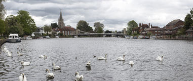 View of All Saints Church and the bridge at Marlow Stock Photos