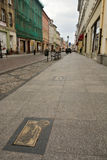 View of the Alley of Autographs on Dluga street in Bydgoszcz Royalty Free Stock Photography