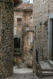 View of alley in the historic center of Santo Stefano di Sessanio, Abruzzo royalty free stock images