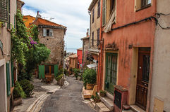 View of alley with houses in Haut-de-Cagnes. Haut-de-Cagnes, France - July 14, 2016. View of alley with houses in Haut-de-Cagnes, a pleasant village on top of a Stock Photography