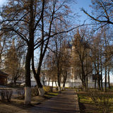 The view of the alleys in the city Park going to the Kremlin photographed early autumn morning. Autumn. Suzdal. Russia. Royalty Free Stock Photography