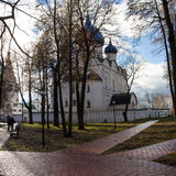 The view of the alleys in the city Park going to the Kremlin photographed early autumn morning. Autumn. Suzdal. Russia. Stock Images