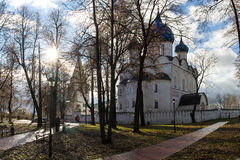 The view of the alleys in the city Park going to the Kremlin photographed early autumn morning. Autumn. Suzdal. Russia. Royalty Free Stock Image