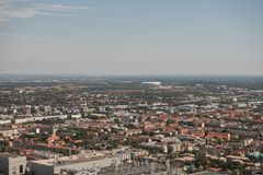 View of Allianz Arena and Munich city from Olympic tower in Germany during summer time. City landscape stock photos