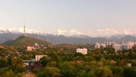 View of Almaty Tower and Tien Shan mountains. Almaty. Kazakhstan stock photos