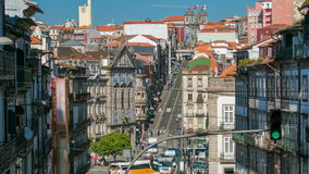View of the Almeida Garret Square with the Sao Bento railway station and Congregados Church timelapse. stock video